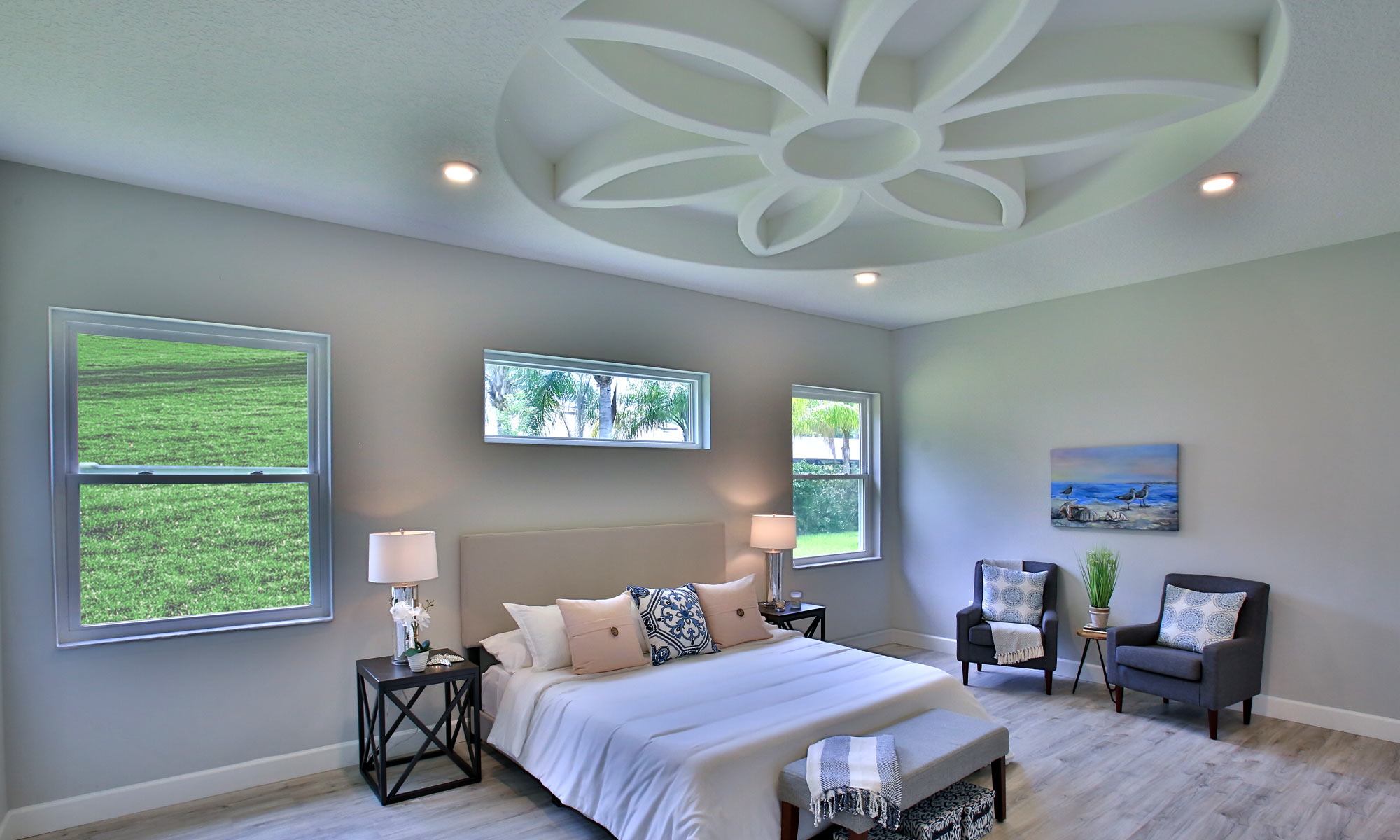 Master Bedroom Flowers on Ceiling in Palm Coast, Florida | Amaral Homes and Pools in Palm Coast, Florida